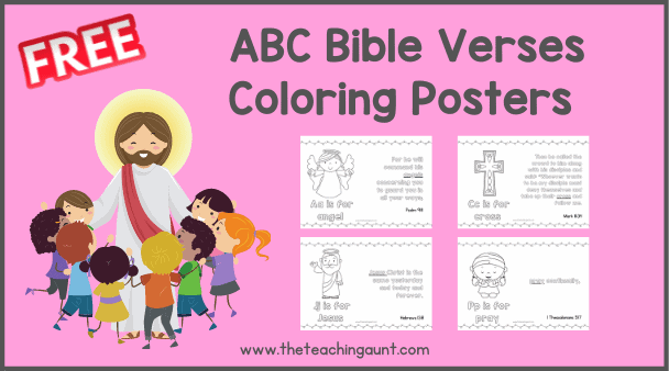 ABC Bible Verse Coloring Pages for Children from The Teaching Aunt