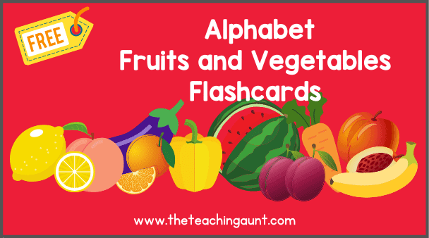 Free Alphabet Fruits and Vegetables Flashcards from The Teaching Aunt