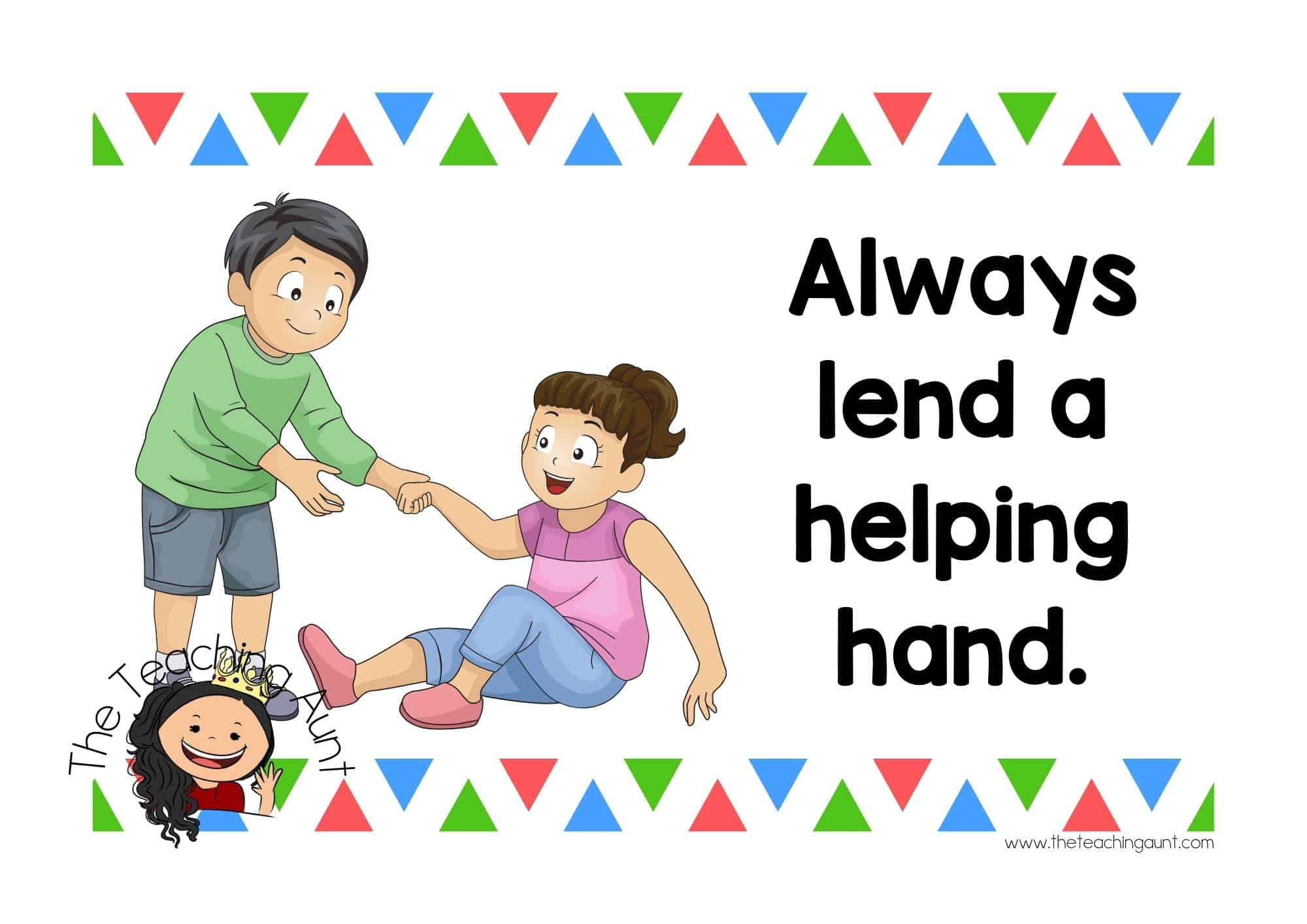 Free Preschool Classroom Rules Posters from The Teaching Aunt- Helping hands