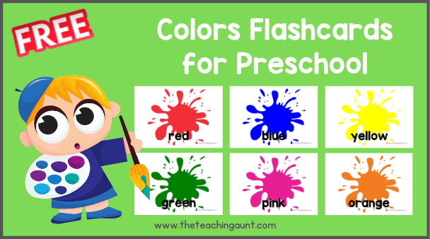 Free Colors Flashcards for Preschool from The Teaching Aunt