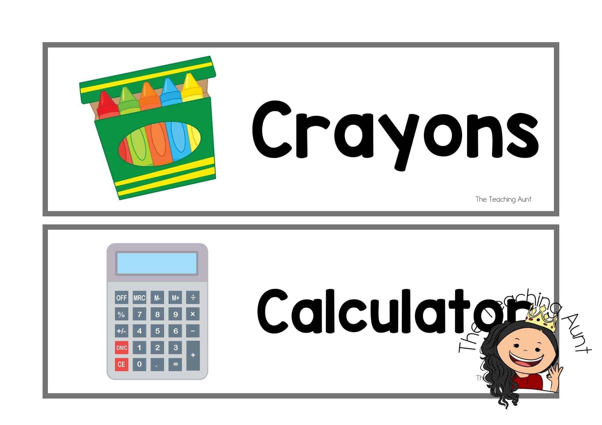 Free School Supplies Flashcards