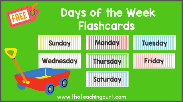 Days of the Week Flashcards PDF Free from The Teaching Aunt