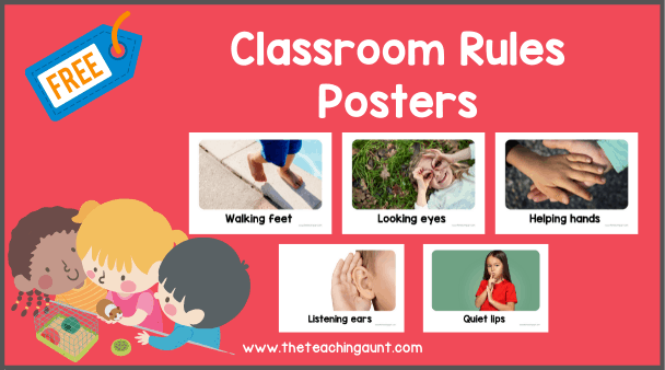 Free Classroom Rules Posters for Preschool from The Teaching Aunt
