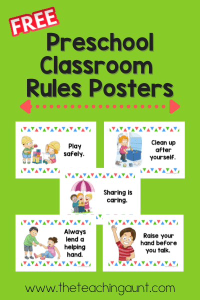 Free Preschool Classroom Rules Posters from The Teaching Aunt