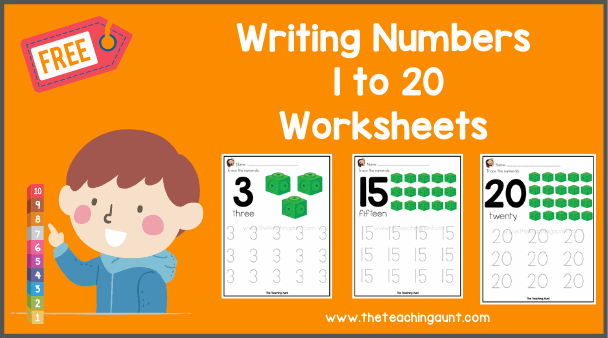 Free Writing Numbers 1-20 Worksheets PDF from The Teaching Aunt