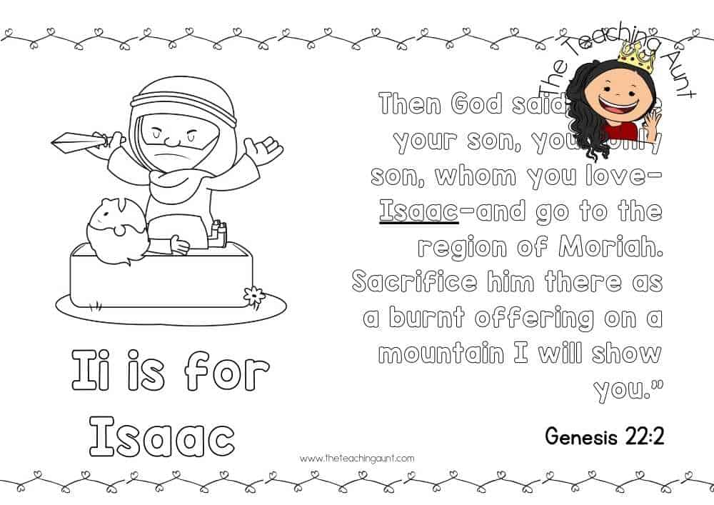 I for Isaac Free Alphabet Bible Verse Posters from The Teaching Aunt