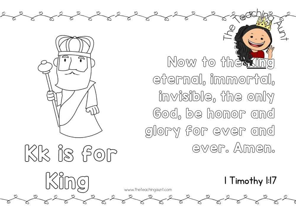 k for king Free Alphabet Bible Verse Posters from The Teaching Aunt