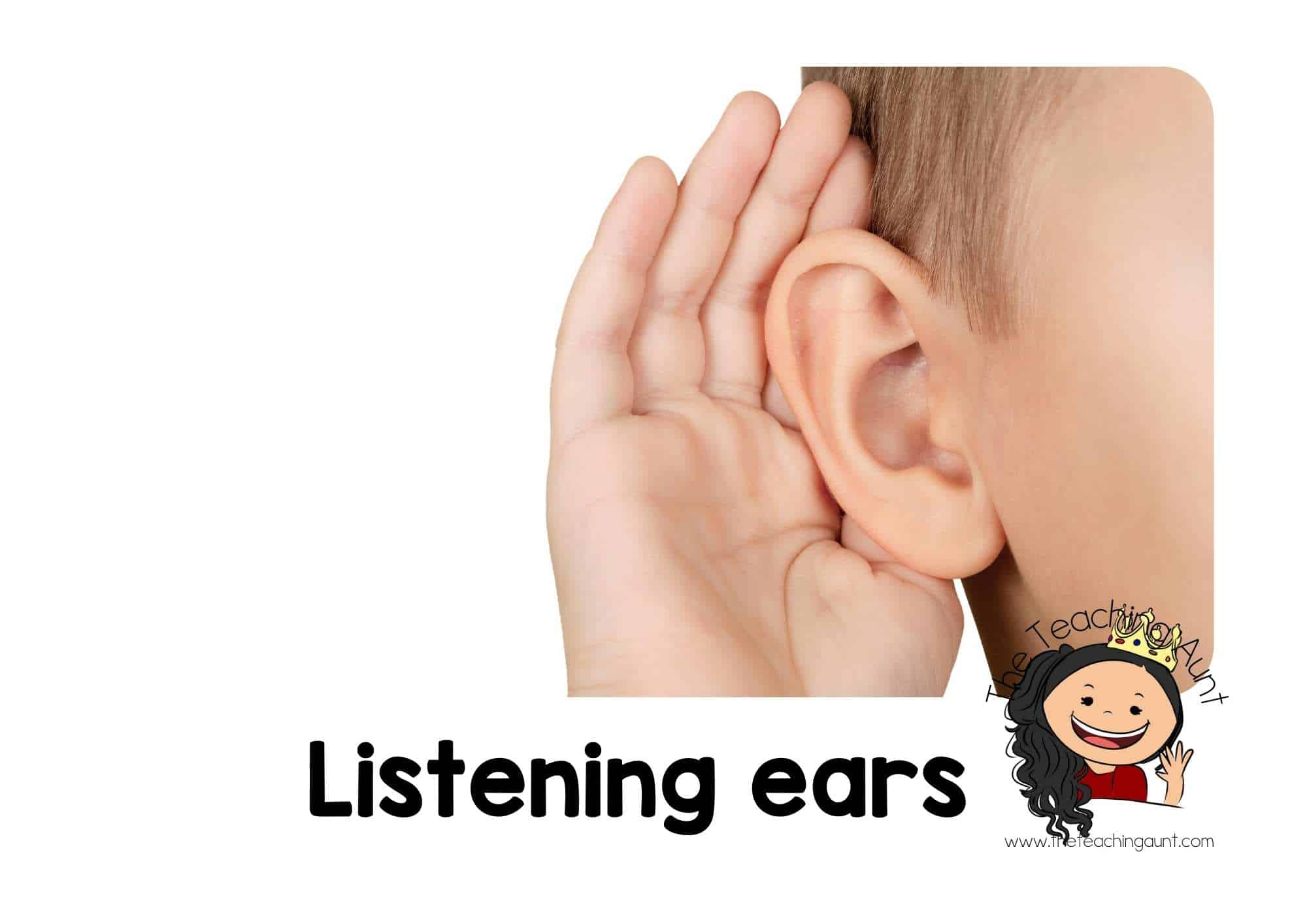 Free Classroom Rules Posters for Preschool- Listening ears