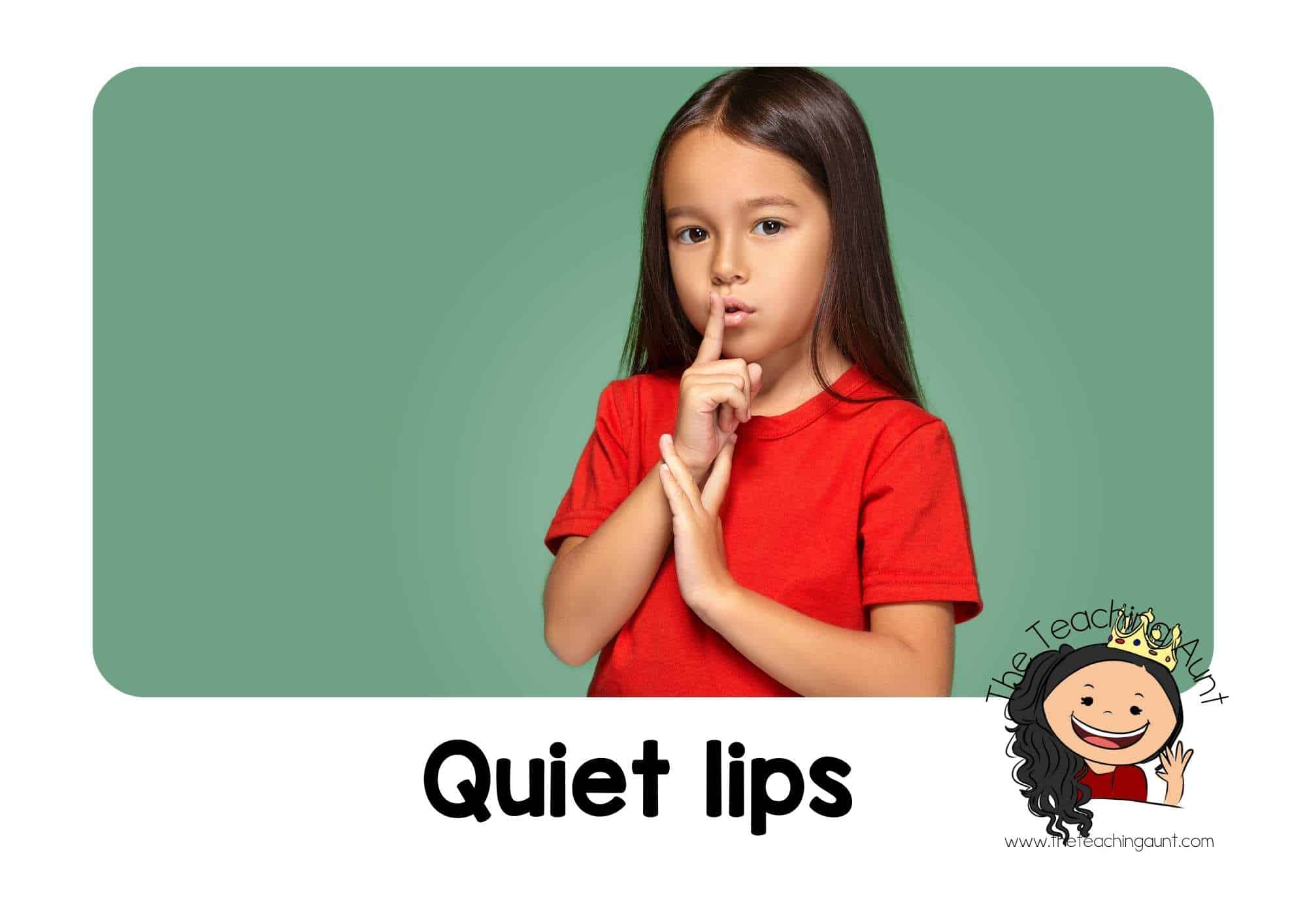 Free Classroom Rules Posters for Preschool- Quiet lips