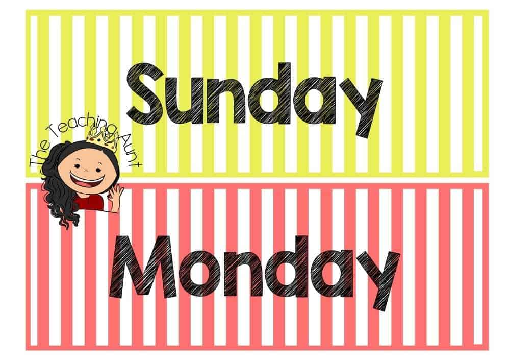 Sunday Monday Days of the Week Flashcards PDF Free from The Teaching Aunt