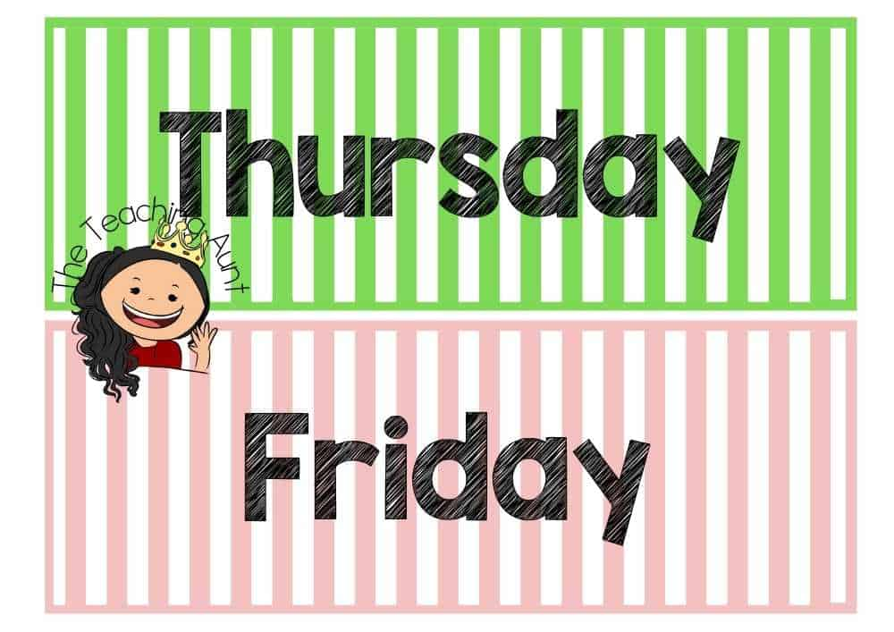 Thursday Friday Days of the Week Flashcards PDF Free from The Teaching Aunt