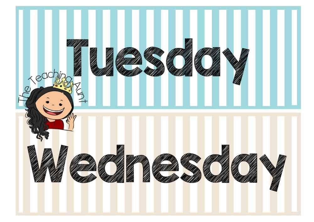 Tuesday Wednesday Days of the Week Flashcards PDF Free from The Teaching Aunt