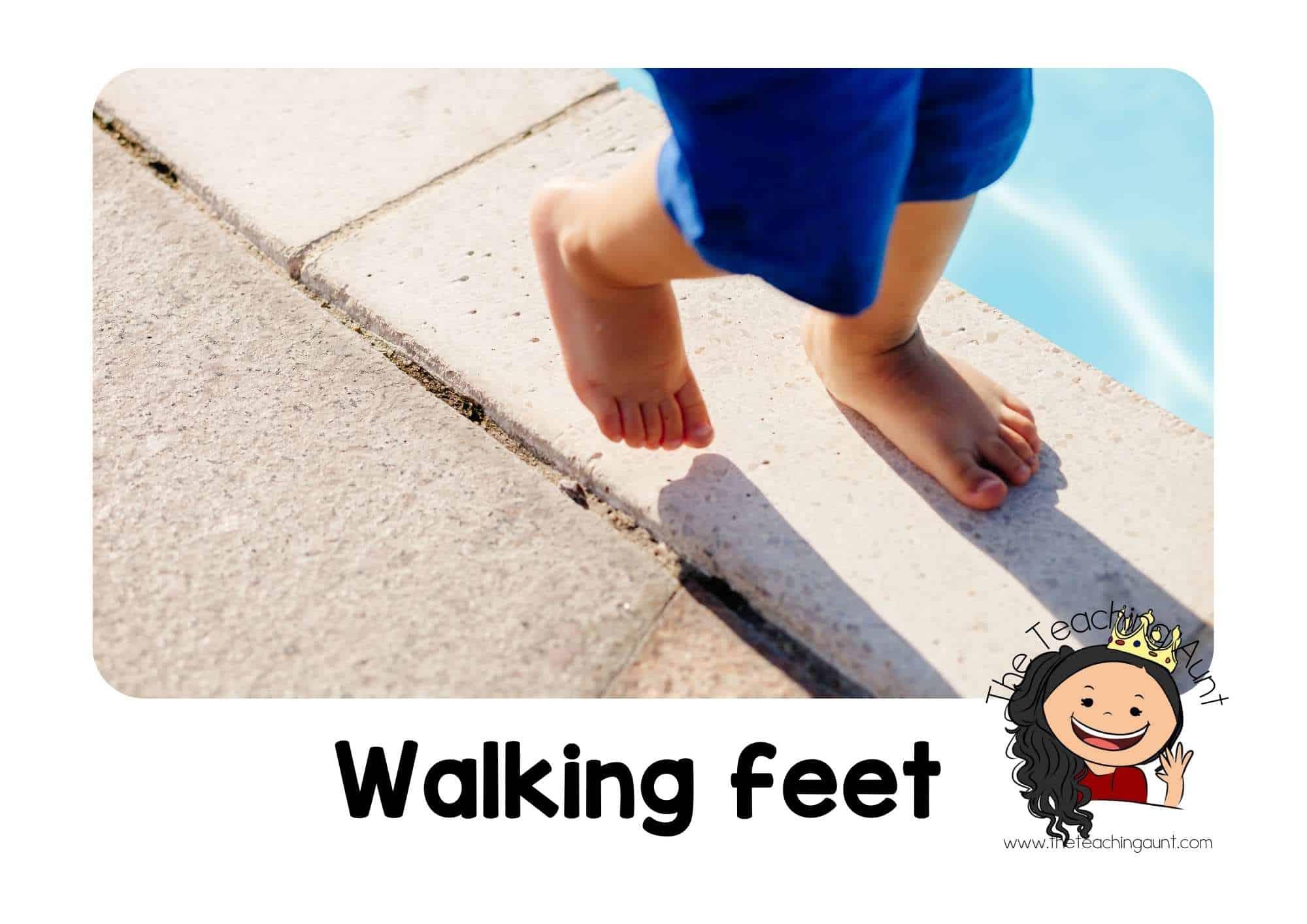 Free Classroom Rules Posters for Preschool- Walking feet