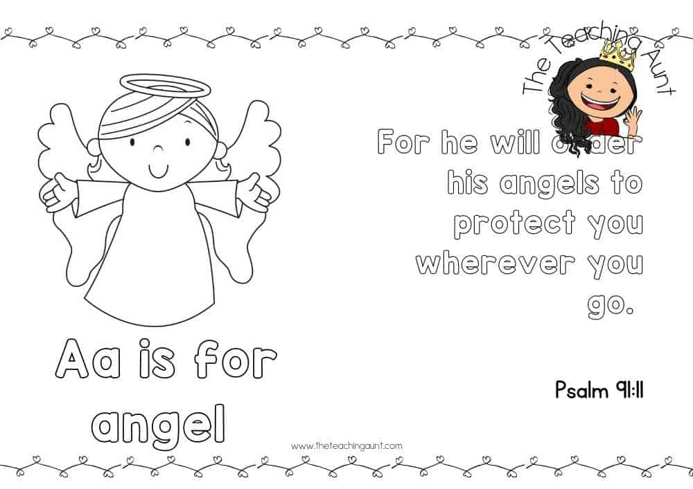 a for angel Free Alphabet Bible Verse Posters from The Teaching Aunt