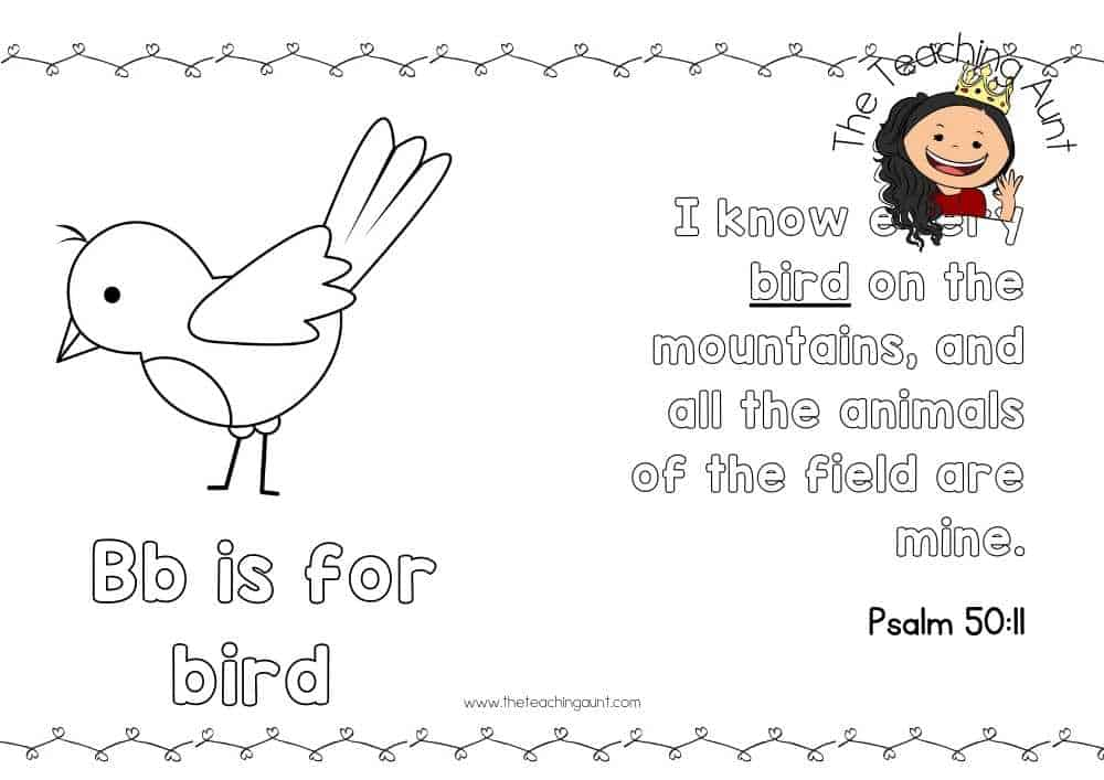 b for bird Free Alphabet Bible Verse Posters from The Teaching Aunt