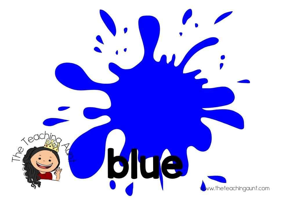Free Colors Flashcards for Preschool from The Teaching Aunt- blue