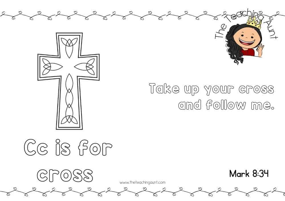 c for cross Free Alphabet Bible Verse Posters from The Teaching Aunt