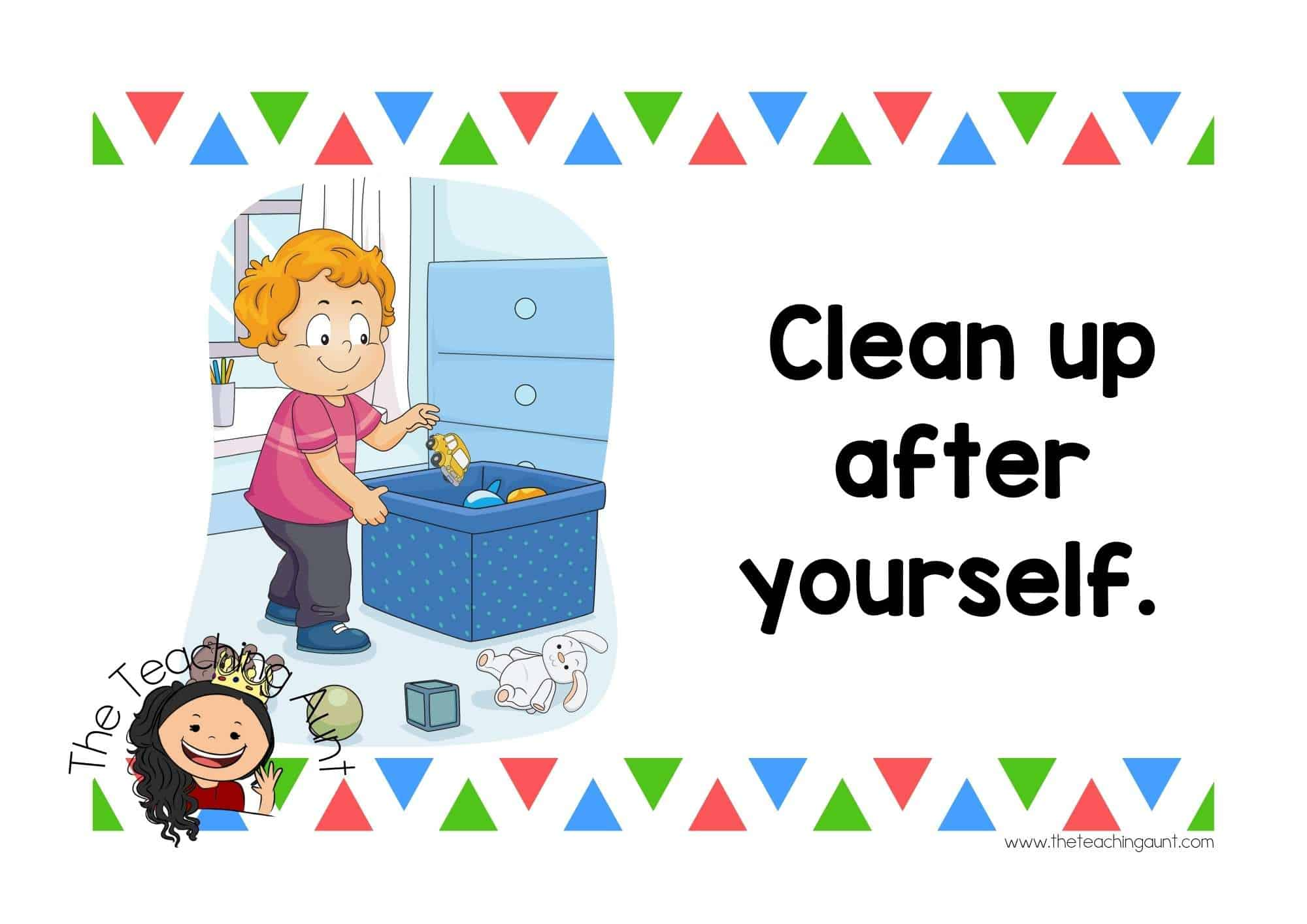 Free Preschool Classroom Rules Posters from The Teaching Aunt- Clean up