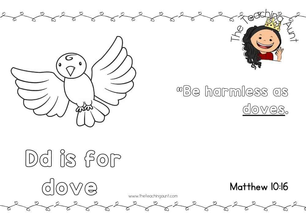 d for dove Free Alphabet Bible Verse Posters from The Teaching Aunt