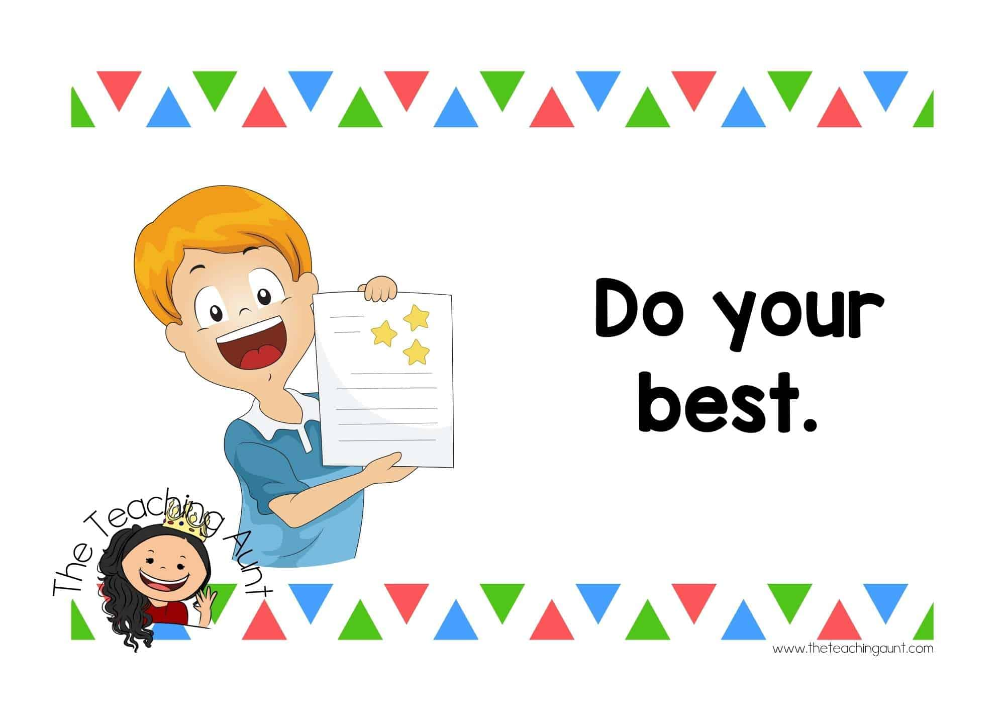 Free Preschool Classroom Rules Posters from The Teaching Aunt- Do your best