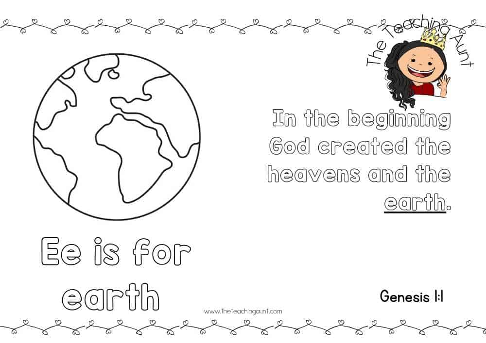 e for earth Free Alphabet Bible Verse Posters from The Teaching Aunt