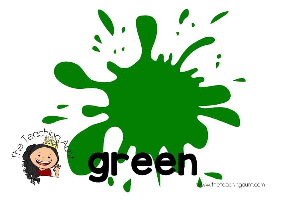 Free Colors Flashcards for Preschool from The Teaching Aunt- green