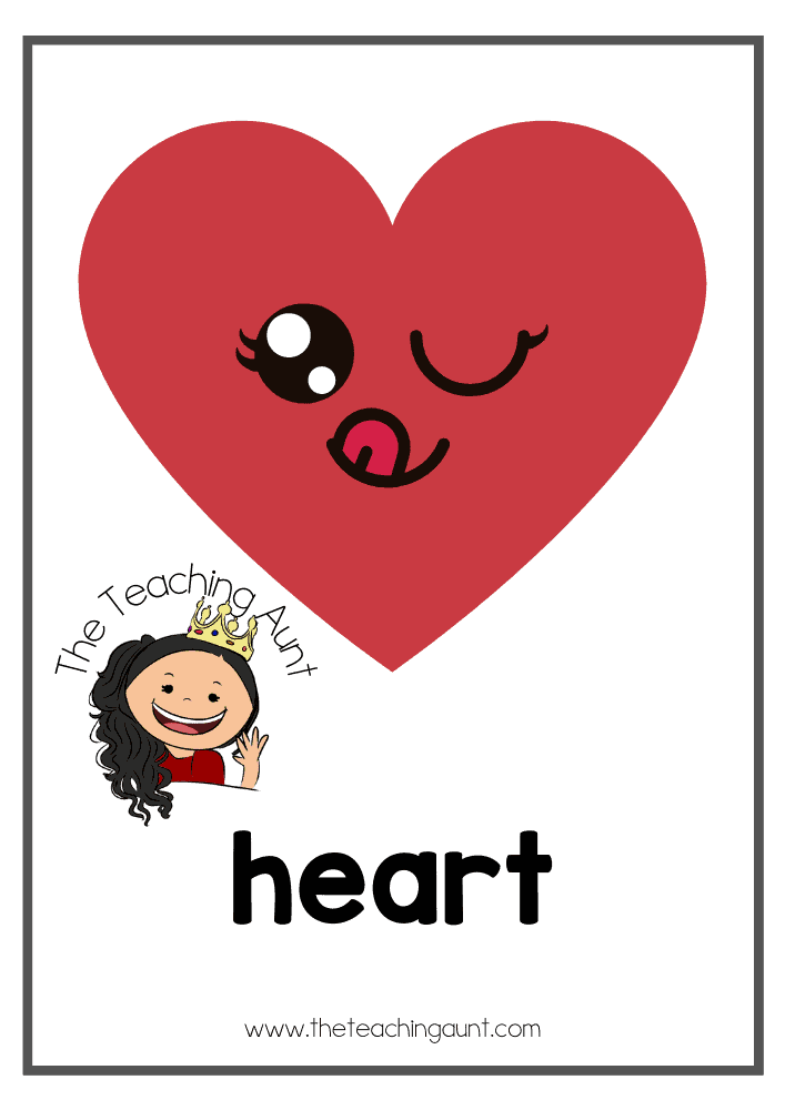 Heart- Free Shapes Flashcards PDF from The Teaching Aunt