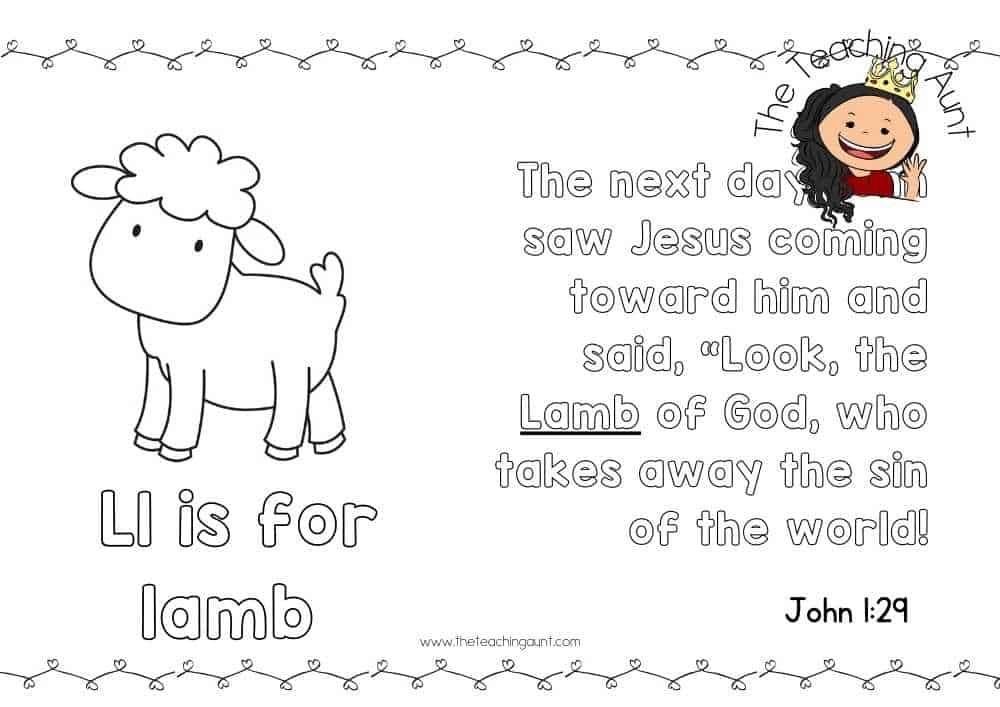 l for lamb Free Alphabet Bible Verse Posters from The Teaching Aunt