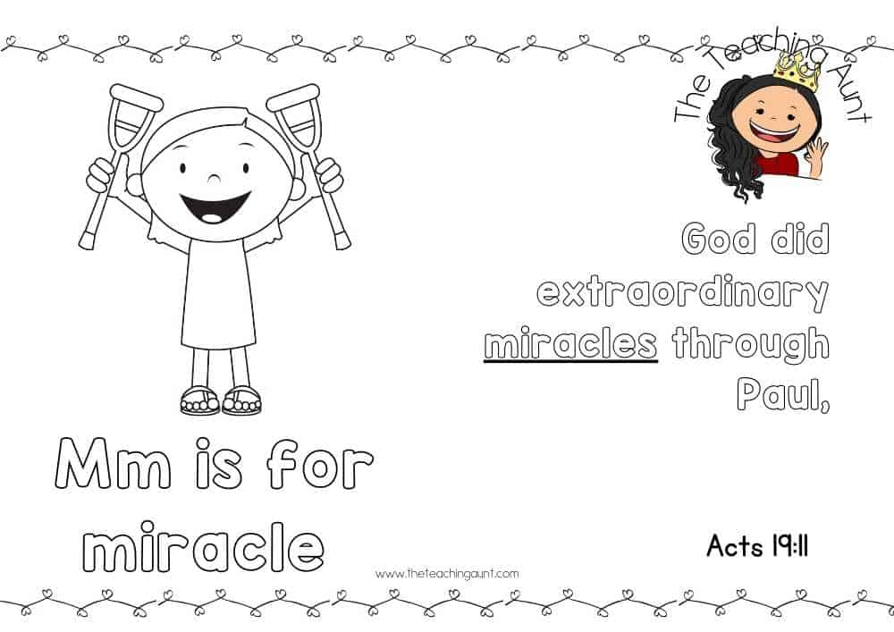 m for miracles Free Alphabet Bible Verse Posters from The Teaching Aunt