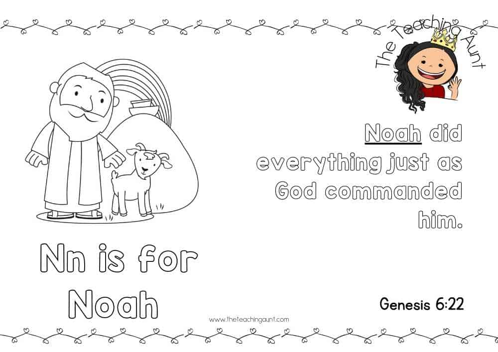 n for Noah Free Alphabet Bible Verse Posters from The Teaching Aunt