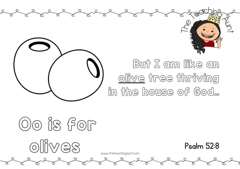 o for olives Free Alphabet Bible Verse Posters from The Teaching Aunt