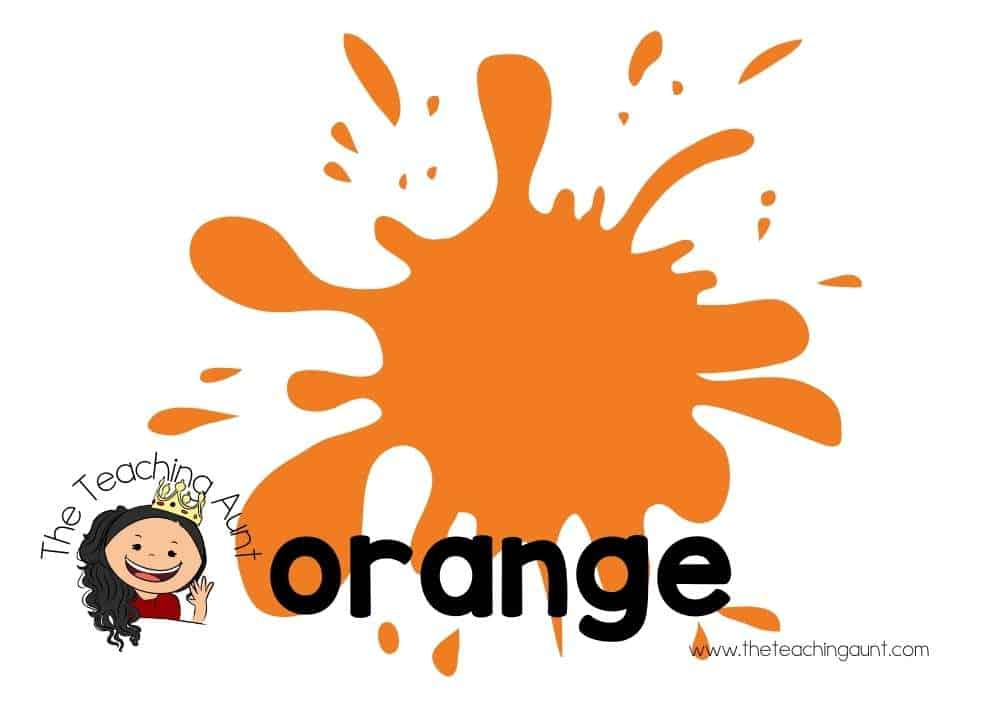 Free Colors Flashcards for Preschool from The Teaching Aunt- orange