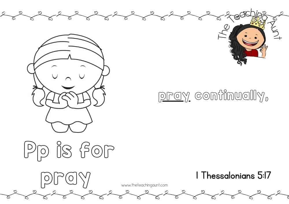 p for pray Free Alphabet Bible Verse Posters from The Teaching Aunt