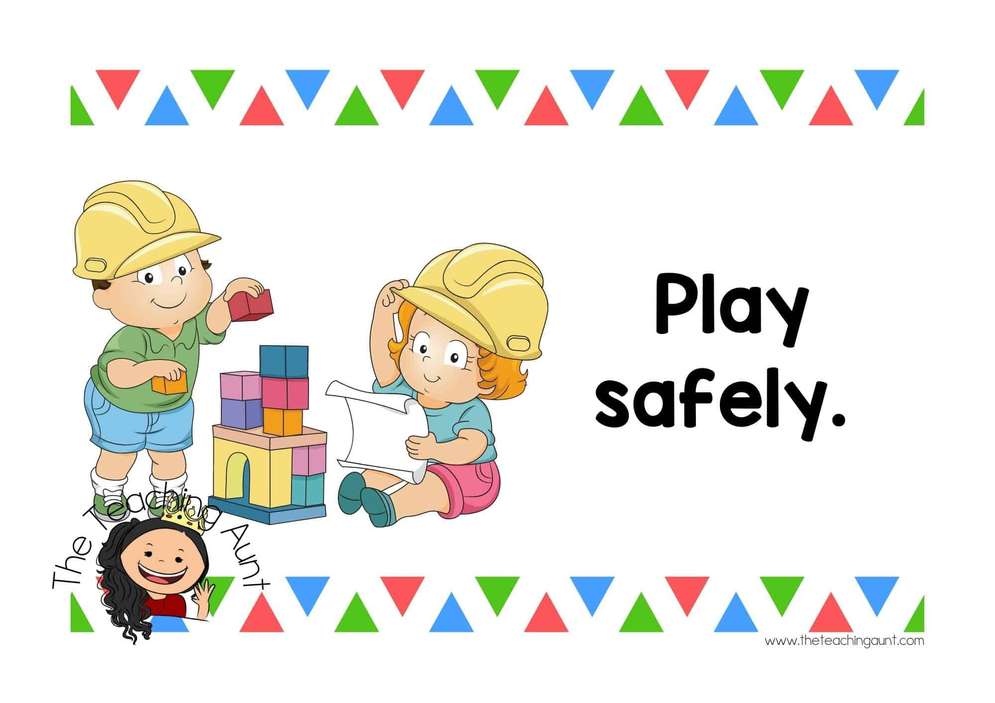 Free Preschool Classroom Rules Posters from The Teaching Aunt- Play safely
