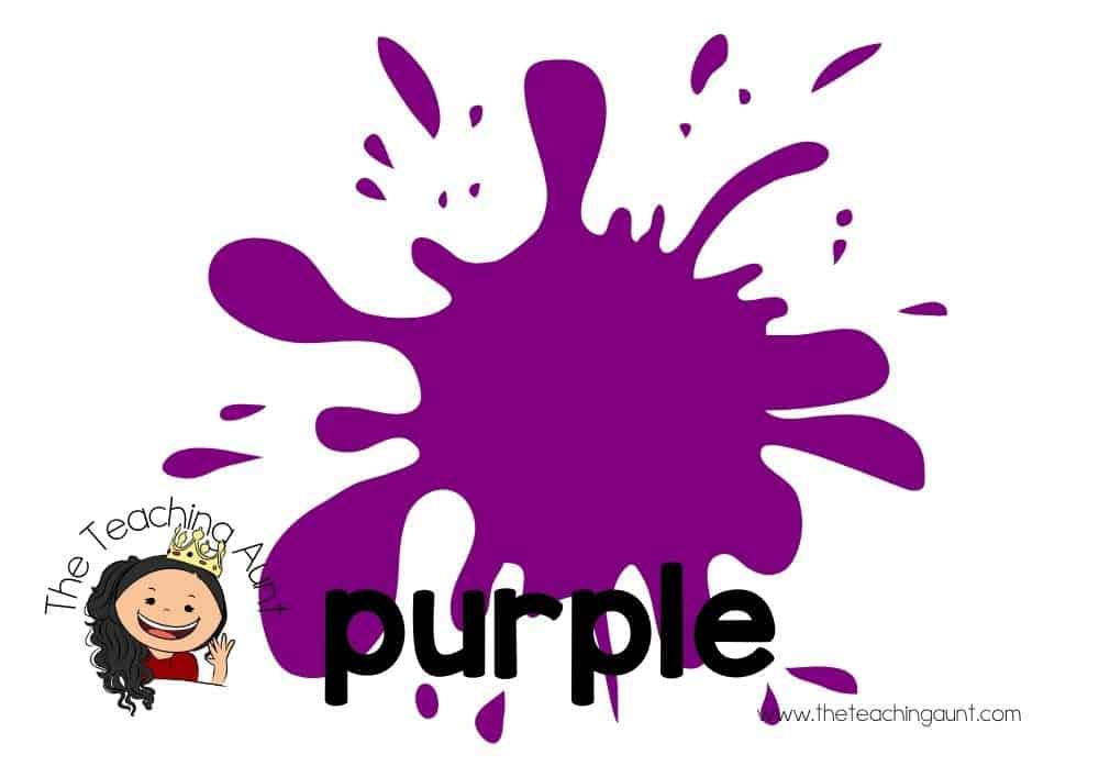 Free Colors Flashcards for Preschool from The Teaching Aunt- purple