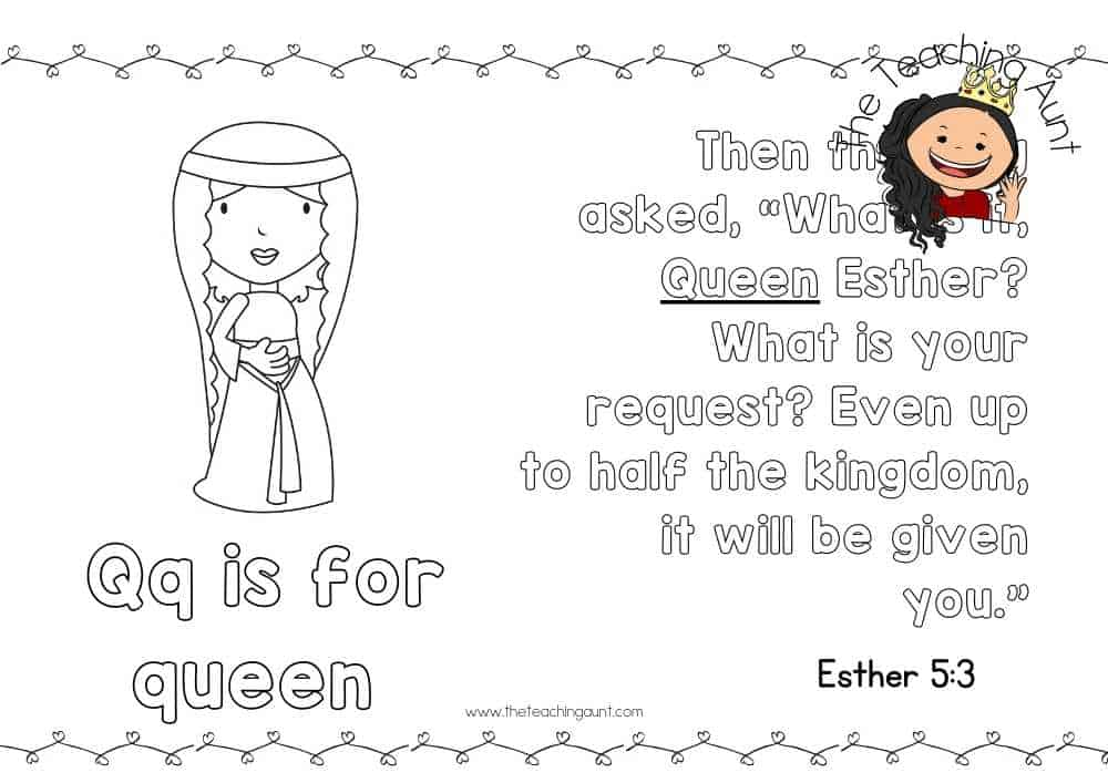 q for queen Free Alphabet Bible Verse Posters from The Teaching Aunt