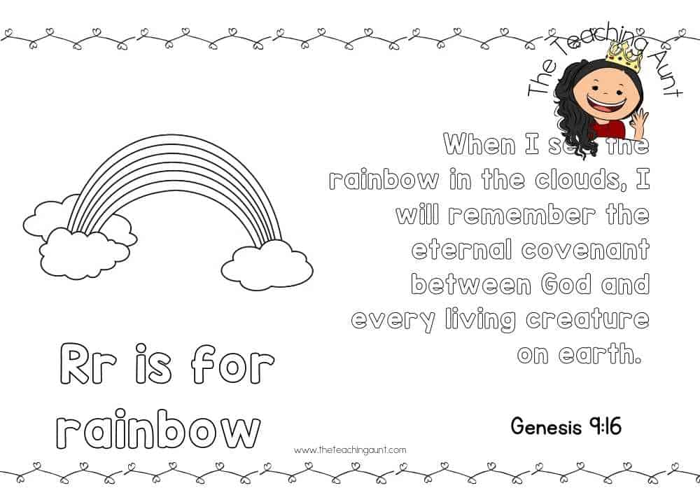 r for rainbow Free Alphabet Bible Verse Posters from The Teaching Aunt