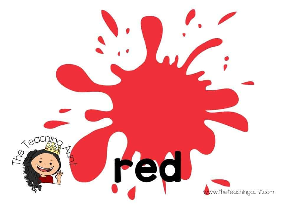 Free Colors Flashcards for Preschool from The Teaching Aunt- red