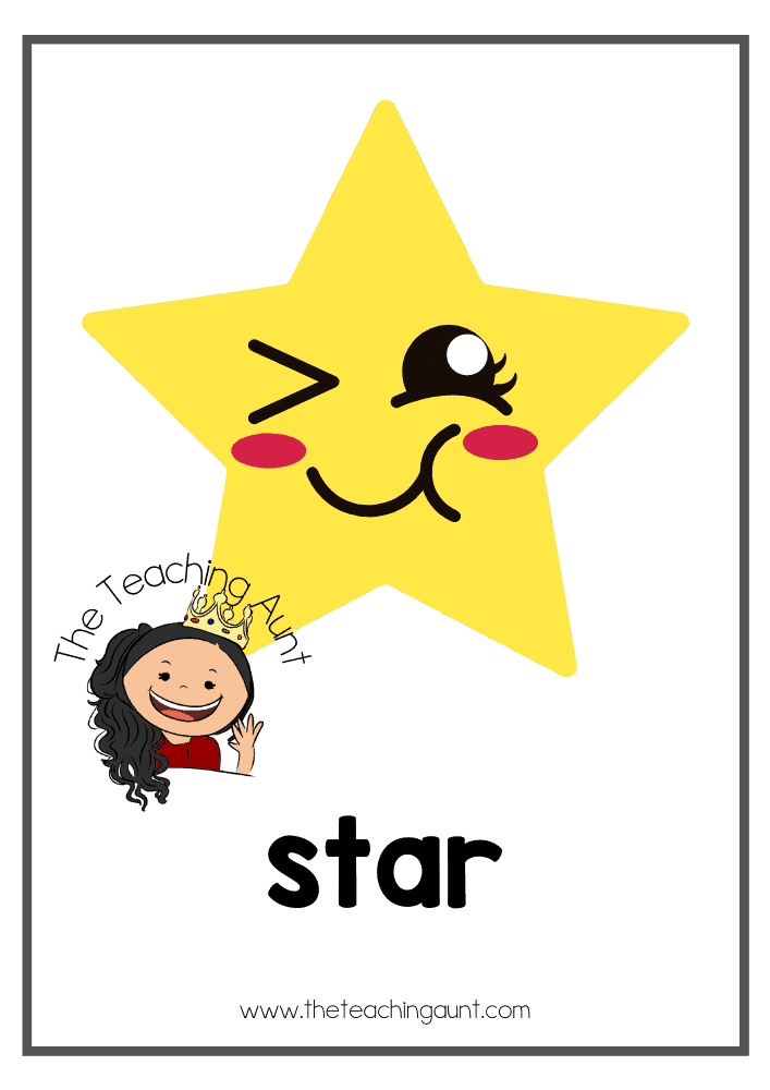 Star- Free Shapes Flashcards PDF from The Teaching Aunt