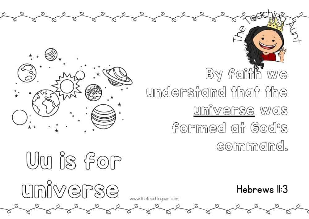 u for universe Free Alphabet Bible Verse Posters from The Teaching Aunt