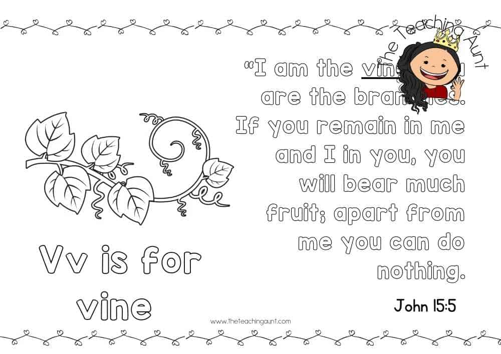 v for vine Free Alphabet Bible Verse Posters from The Teaching Aunt
