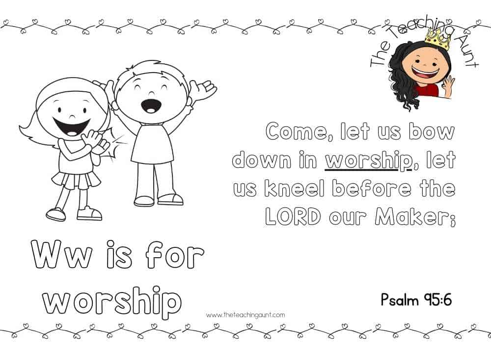 w for worship Free Alphabet Bible Verse Posters from The Teaching Aunt