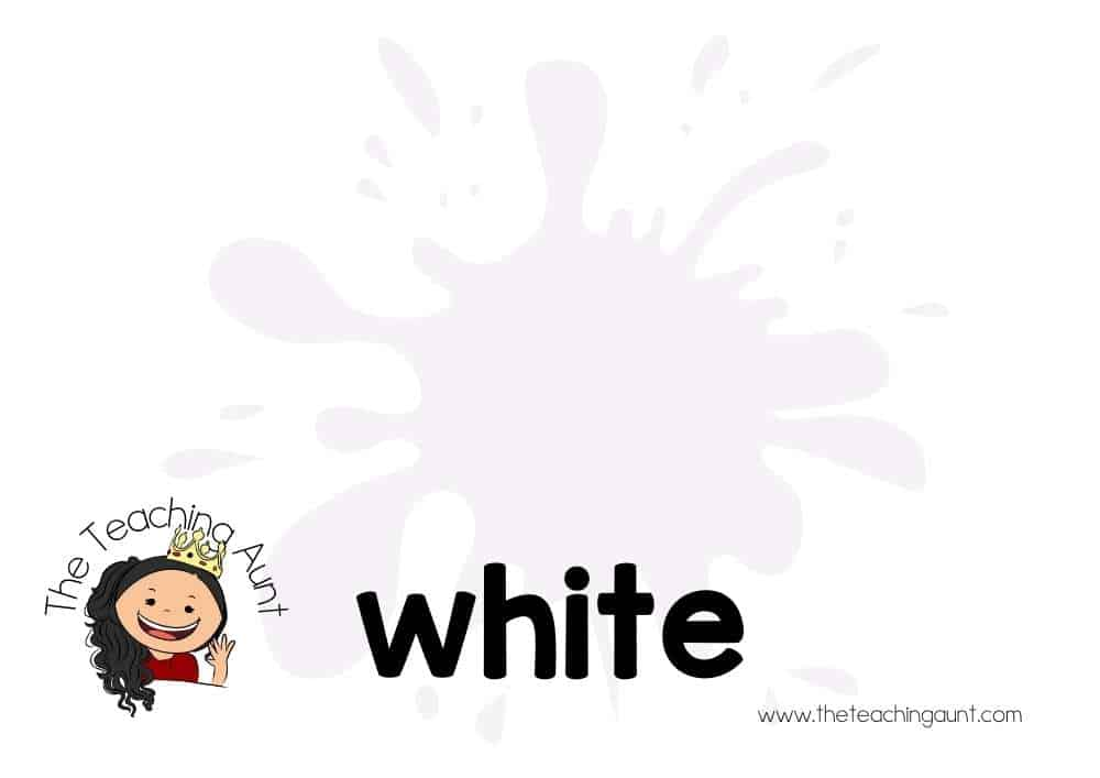 Free Colors Flashcards for Preschool from The Teaching Aunt- white
