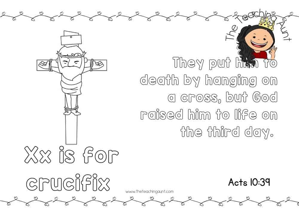 x for crucifix Free Alphabet Bible Verse Posters from The Teaching Aunt