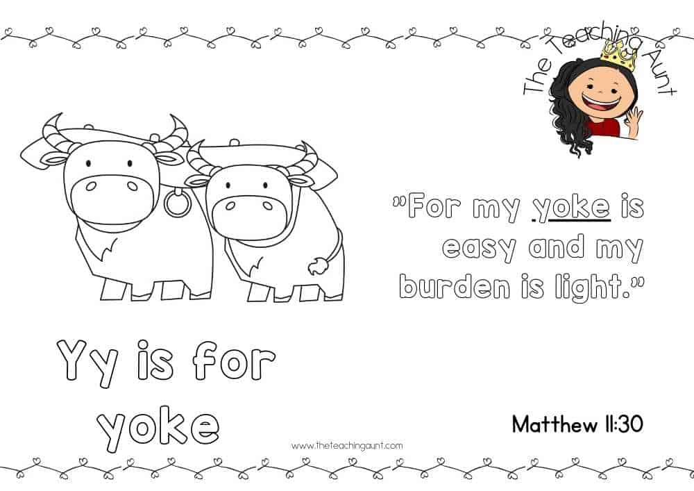 y for yoke Free Alphabet Bible Verse Posters from The Teaching Aunt