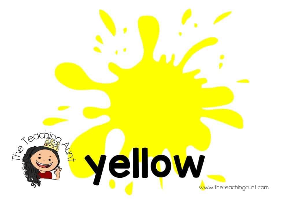 Free Colors Flashcards for Preschool from The Teaching Aunt- yellow