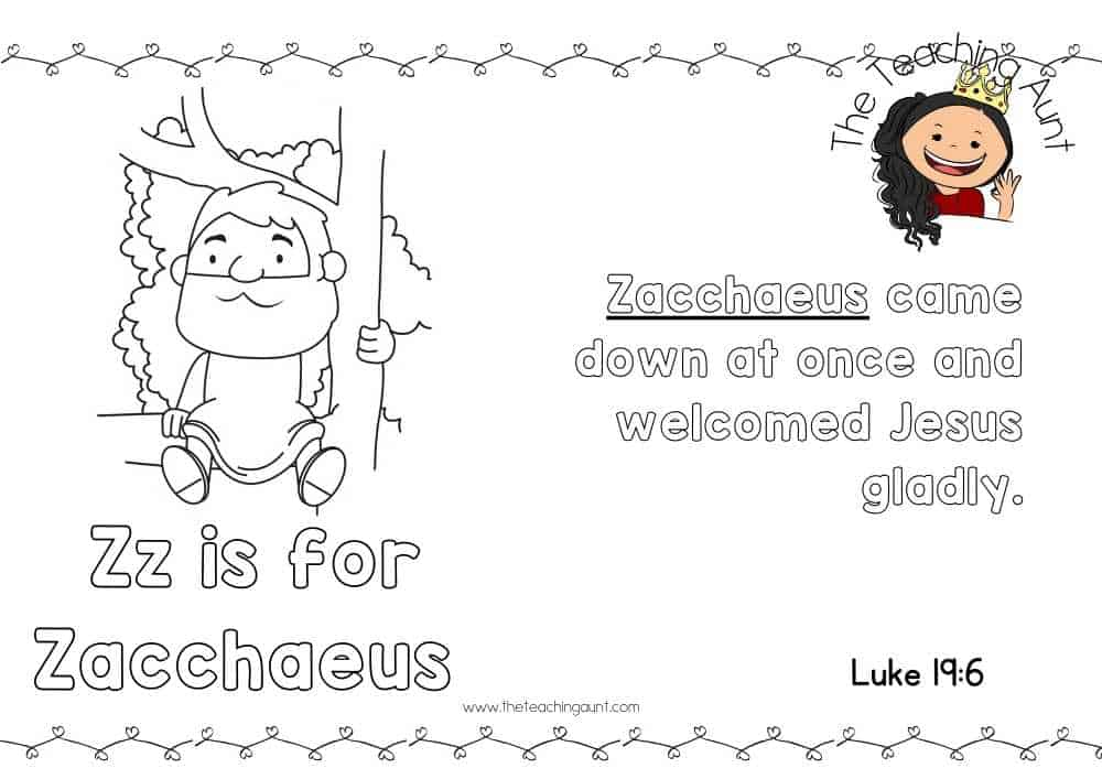 z for Zacchaeus Free Alphabet Bible Verse Posters from The Teaching Aunt