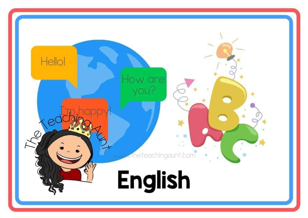 (English) Subjects Flashcards Free Printable from The Teaching Aunt