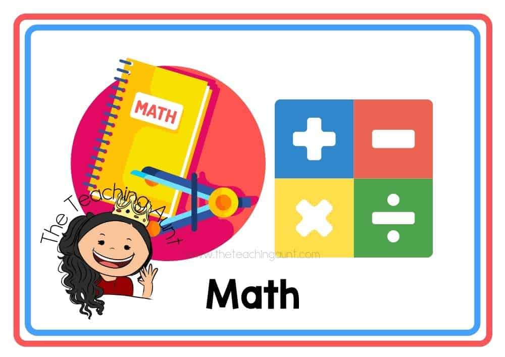 (Math) Subjects Flashcards Free Printable from The Teaching Aunt