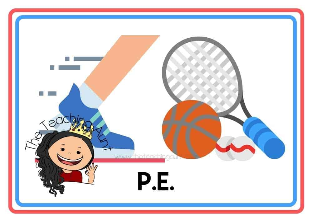 (P.E.) Subjects Flashcards Free Printable from The Teaching Aunt